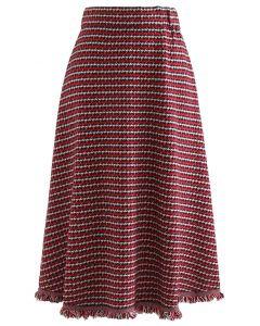 Houndstooth Fringed Hem Knit Midi Skirt in Red