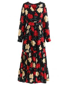 Passionate Blossom Frilling Wrapped Maxi Dress