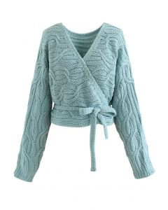 Wrap Front Braid Knit Crop Sweater in Turquoise