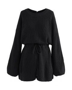 Drawstring Waist Rib Knit Playsuit in Black