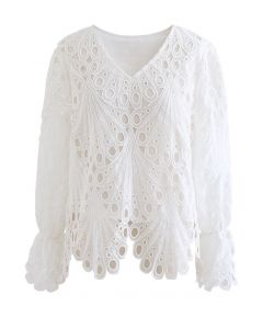 White Scalloped Hollow Out Lace Top