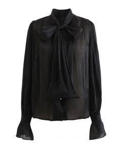 Glossy Tie Neck Button Down Shirt in Black