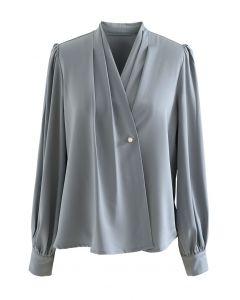 Buttoned Surplice Sleek Satin Top in Dusty Blue