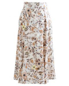 Daisy Print Satin Midi Skirt in Cream