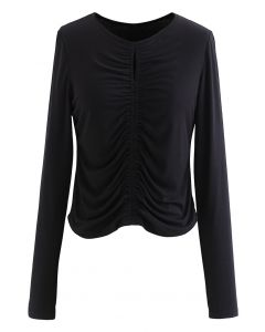 Cutout Detail Elastic Ruched Crop Top in Black