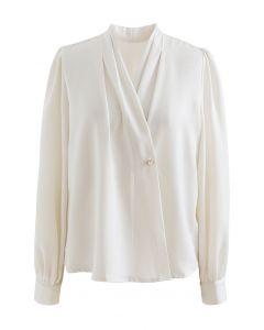 Buttoned Surplice Sleek Satin Top in Cream