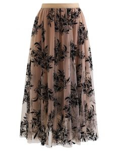 3D Leaf Double-Layered Mesh Tulle Midi Skirt in Caramel