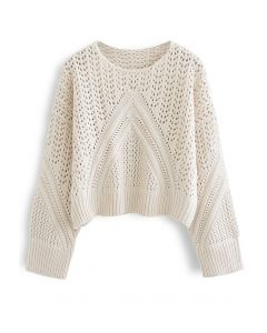 Hollow Out Chunky Knit Sweater in Ivory