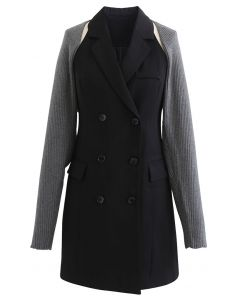 Double-Breasted Blazer Dress with Sweater Sleeve in Grey