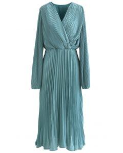 Pleated Wrap Front Chiffon Midi Dress