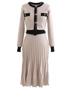 Belted Contrast Color Pleated Knit Dress
