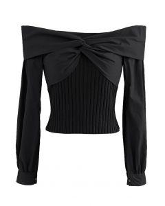 Twist Front Spliced Crop Rib Knit Top in Black