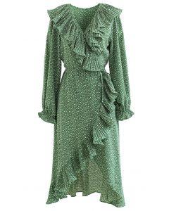 Flowery Wrap Ruffle Asymmetric Midi Dress in Green