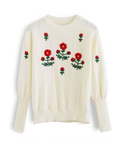 Red Posy Puff Sleeve Knit Sweater