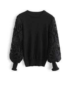 Baroque Crochet Sleeve Knit Top in Black