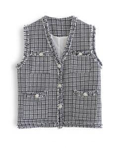 V-Neck Tasseled Button Down Tweed Vest Jacket in Black