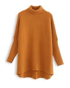Effortless Chic Turtleneck Batwing Sleeve Hi-Lo Sweater in Caramel