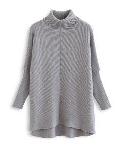 Effortless Chic Turtleneck Batwing Sleeve Hi-Lo Sweater in Grey
