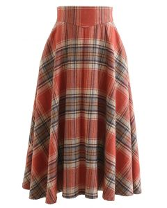 Multicolor Check Print Wool-Blend A-Line Skirt