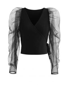Ruched Mesh Sleeve Cropped Wrap Knit Top in Black