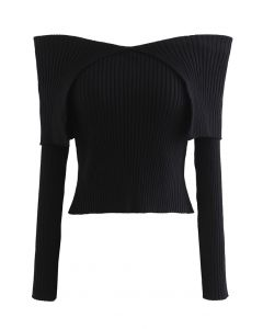 Flap Collar Off-Shoulder Crop Knit Top in Black