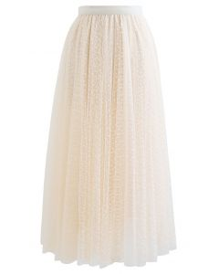 Lacy Chain Double-Layered Mesh Tulle Midi Skirt in Cream