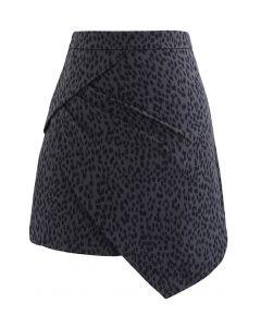 Animal Print Side Pleated Asymmetric Mini Skirt in Smoke