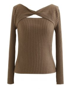 Twisted Cut Out Fitted Knit Top in Tan