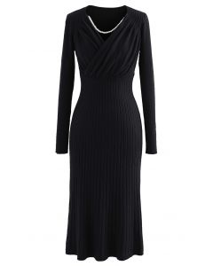 Ruched Wrap Front Ribbed Knit A-line Midi Dress in Black