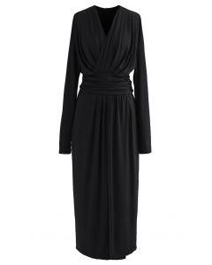Ruched Wrap V-Neck Slit Maxi Dress in Black