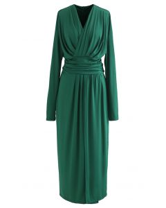 Ruched Wrap V-Neck Slit Maxi Dress in Green