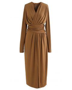 Ruched Wrap V-Neck Slit Maxi Dress in Caramel