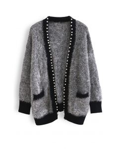 Shimmer Fuzzy Knit Pearly Cardigan in Grey