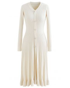Button Front Ribbed Knit A-line Midi Dress in Cream