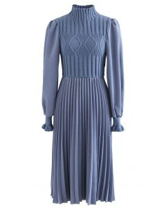 Cable Knit Spliced Pleated Midi Dress in Blue