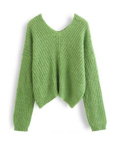 V-Neck Hollow Out Knit Sweater in Green