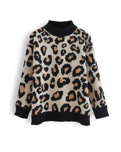 Wild Leopard Print Mock Neck Knit Sweater
