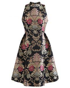 Splendid Peony Baroque Jacquard Sleeveless Dress in Black
