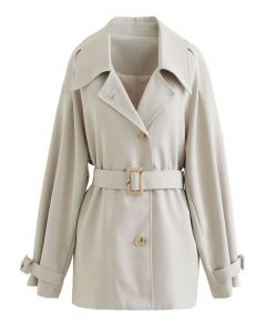 Button Down Belted Coat in Ivory