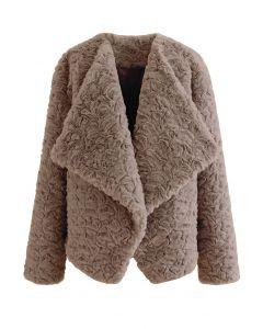 Wide Lapel Snug Faux Fur Coat in Brown