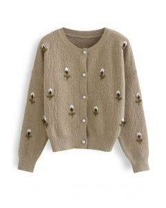 Button Down Stitched Posy Knit Cardigan in Camel