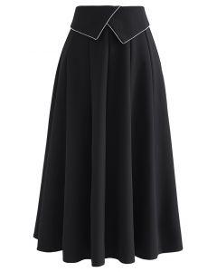 Crystal Flap Seam Detailing Midi Skirt in Black