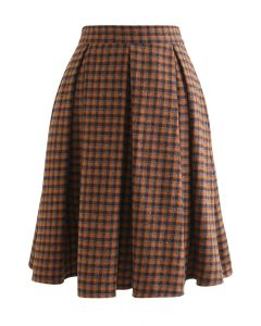 Colored Gingham Wool-Blend Pleated Skirt in Orange
