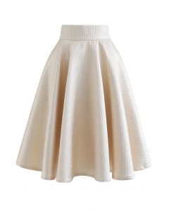 Shimmer Honeycomb Embossed Midi Skirt