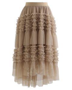 Ruffle Tiered Hi-Lo Mesh Tulle Skirt in Tan