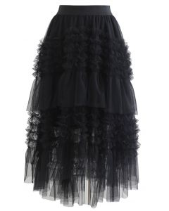 Ruffle Tiered Hi-Lo Mesh Tulle Skirt in Black