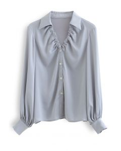 Ruched V-Neck Button Down Satin Top in Dusty Blue