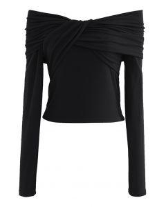 Twisted Front Off-Shoulder Crop Top in Black