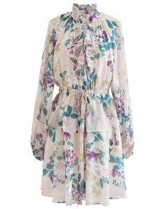 Modest Floral Puff Sleeve Ruffle Dress