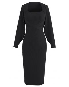 Halter Neck Bodycon Knit Dress with Sleeve Sweater in Black
